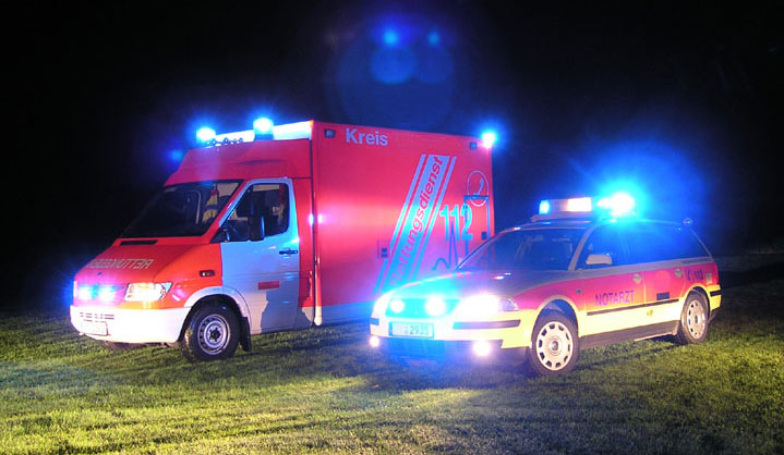 LED light bars on ambulances