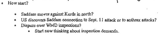 Excerpt from Donald Rumsfeld memo dated 27 November 2001 Rumsfeld-Memo-HowStart.jpg