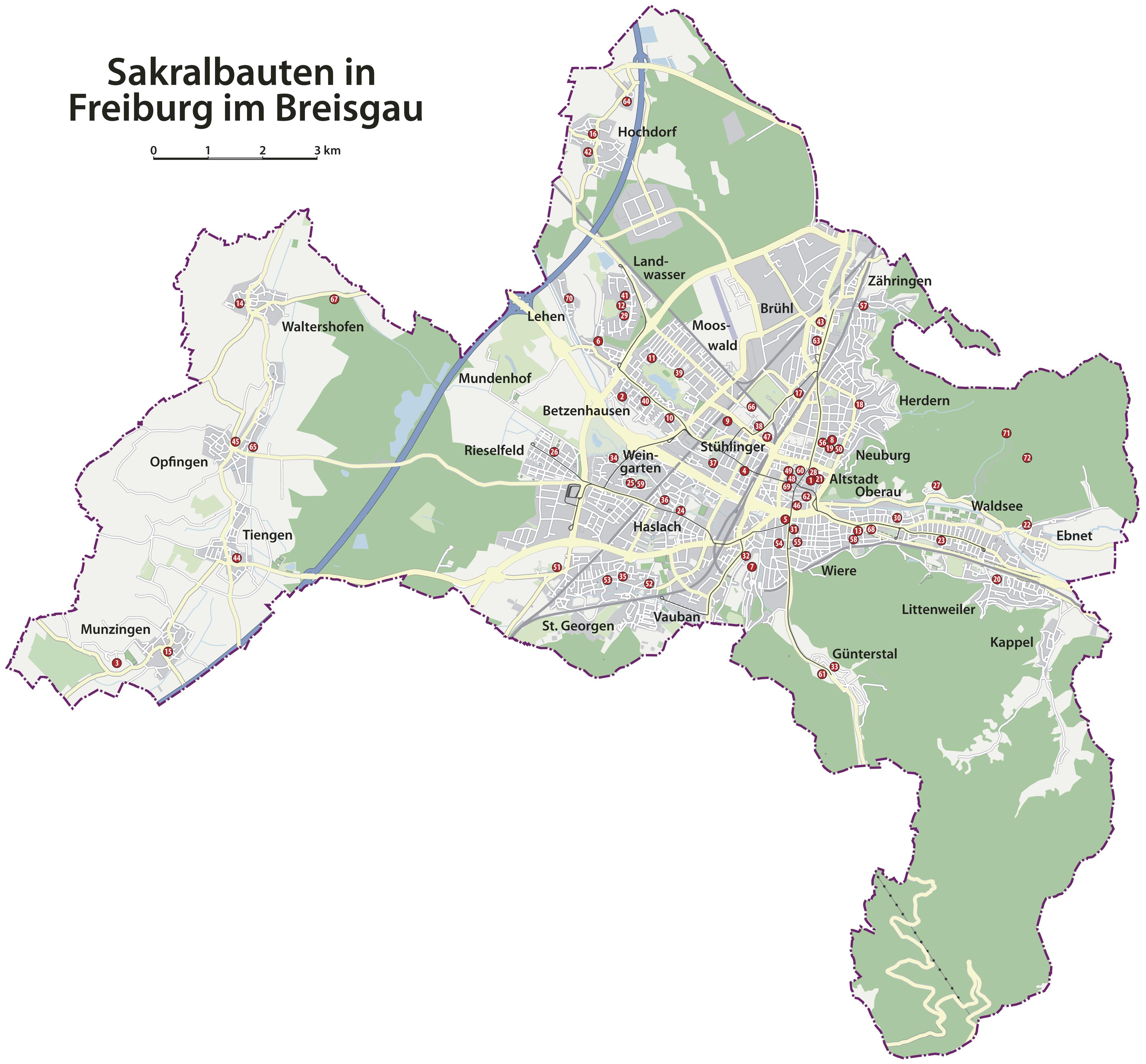 Freiburg Karte.Datei Sakralbauten In Freiburg Png Wikipedia