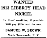 Ad placed by Brown in The Numismatist, December 1919 SamuelBrown.png