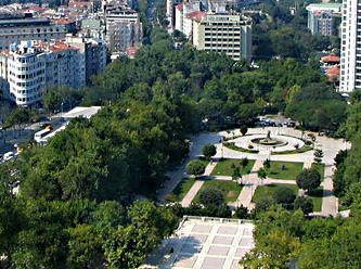 Gezi Park as seen from the Marmara Hotel on Taksim Square. Sky view from Taksim Gezi Park, Istambul, Turkey..jpg