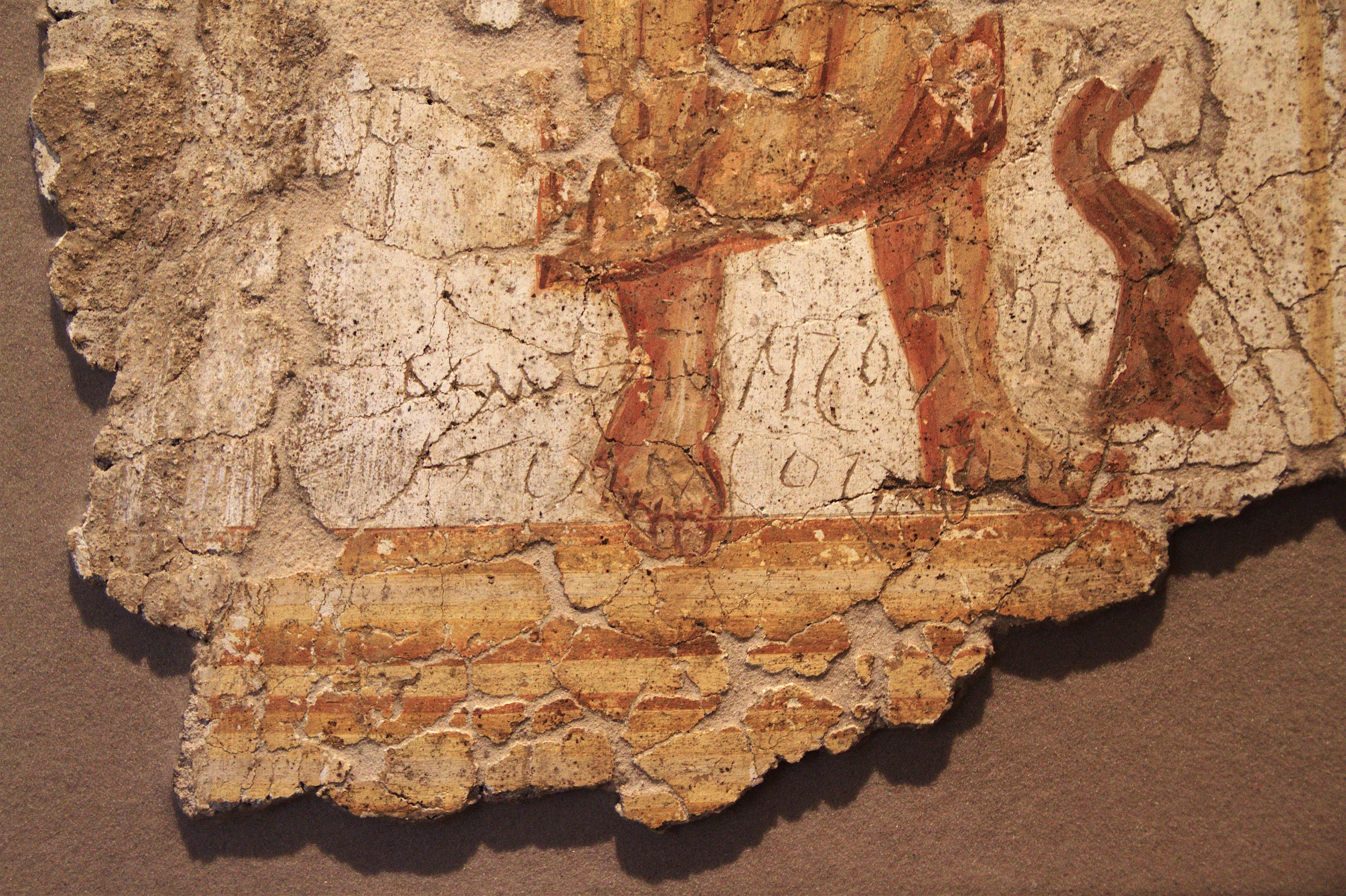 File strasbourg place du ch teau peinture murale romaine personnage debout d tail for Peinture nacree murale