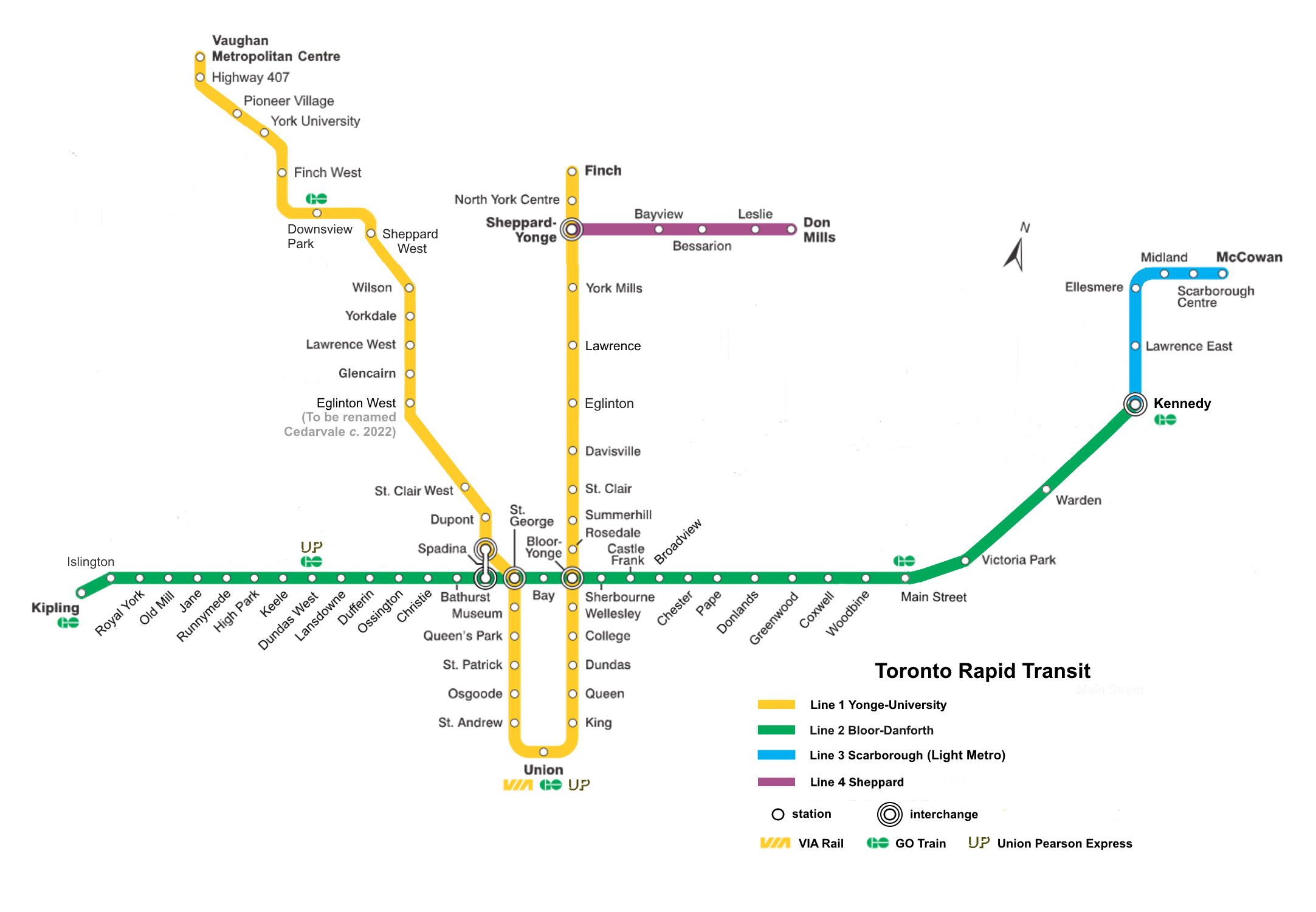 Toronto Subway Stations Map.List Of Toronto Subway Stations Wikipedia