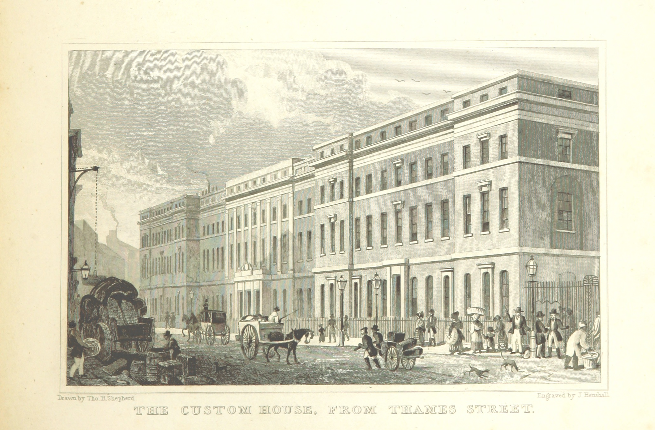 File:The Custom House, from Thames Street - Shepherd, Metropolitan Improvements (1828