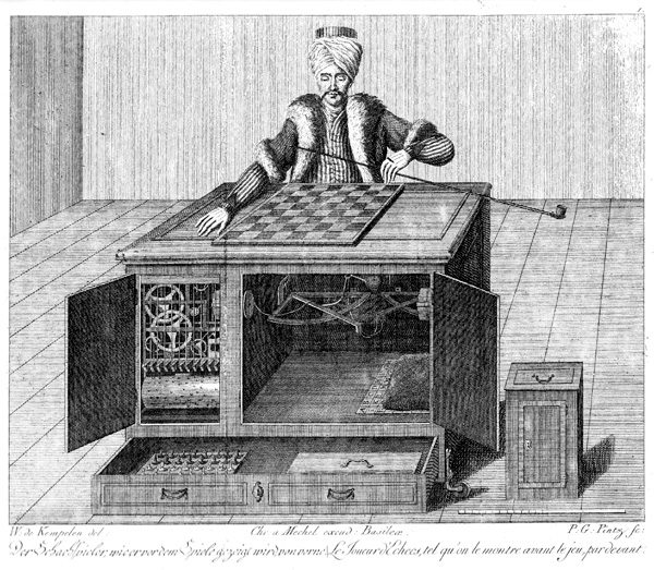 The Mechanical Turk, a chess-playing automaton that would carry out the desires of a human player.