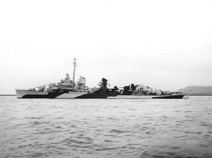 USS Bush (DD-529) off Mare Island, 11 June 1944. Her camouflage is Measure 32.