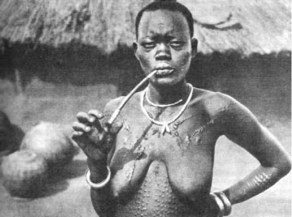 Woman smoking pipe