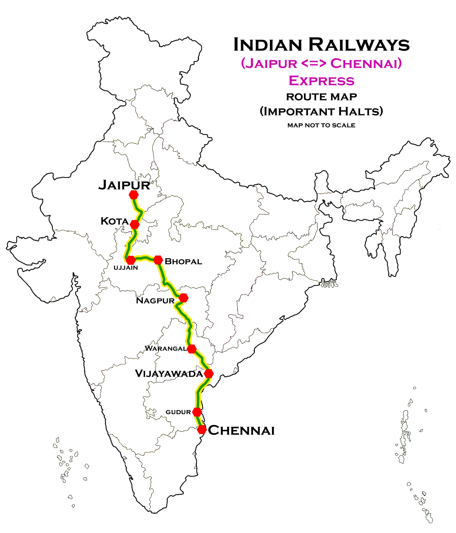 Chennai Central–Jaipur Superfast Express - Wikipedia on indian railway food, indian railways logo, indian railway network, indian railway enquiry, auto train route map, indian rail route, us train routes map, indian railway fare table, indian railway ticket availability, pakistan railway track map, indian railways seat availability, transcontinental railroad route map, indian railway schedule, european train route map, indian railway reservation, india railway map, indian railway timetable, indian railway stations, mt. shasta route map, ferdinand magellan's route map,