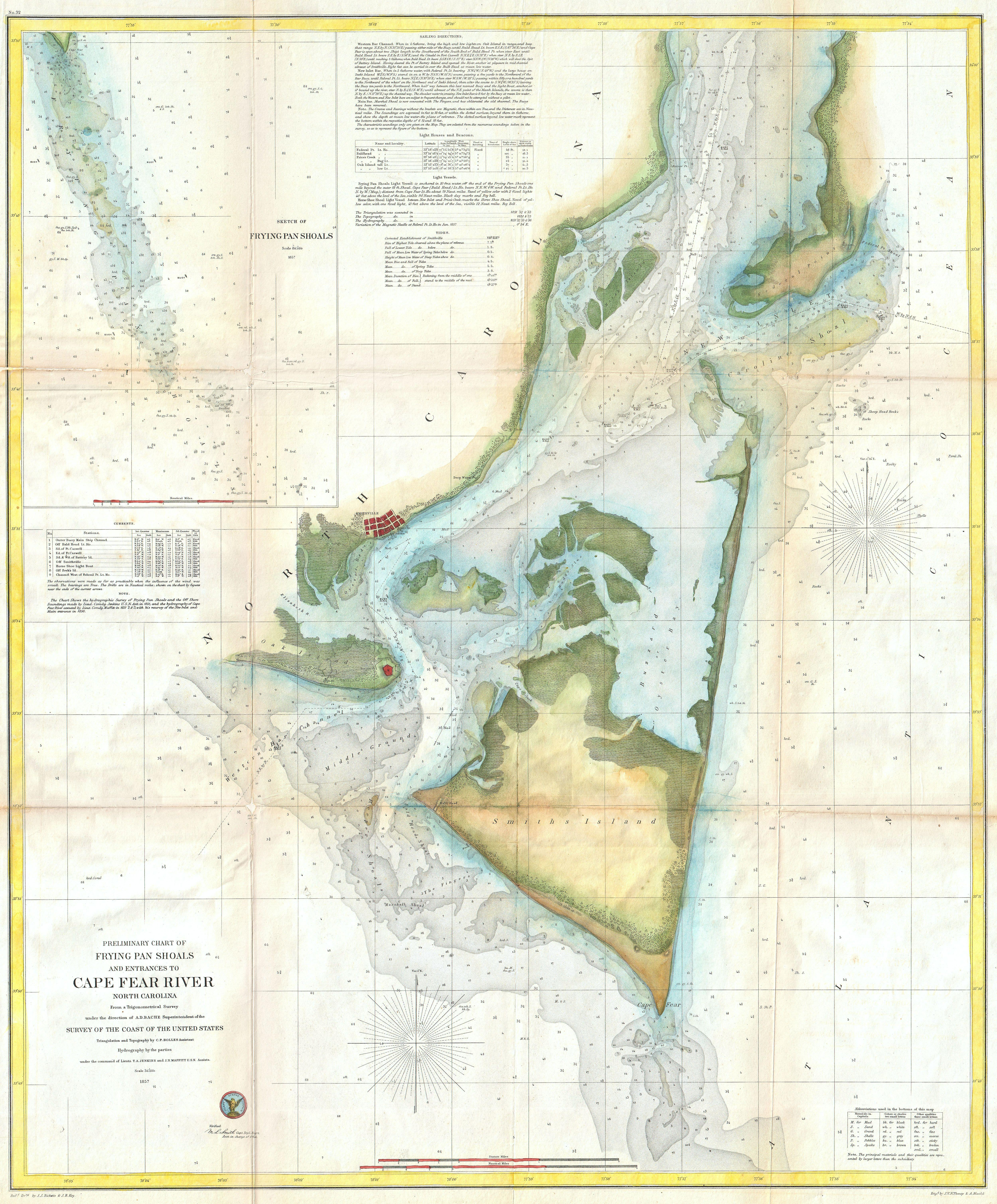 Smith Chart Open: 1857 U.S.C.S. Map of Cape Fear North Carolina - Geographicus ,Chart