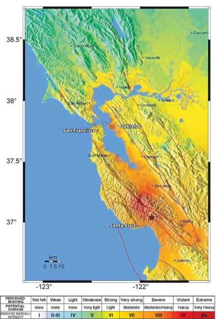 usgs shakemap showing the intensity of the mainshock