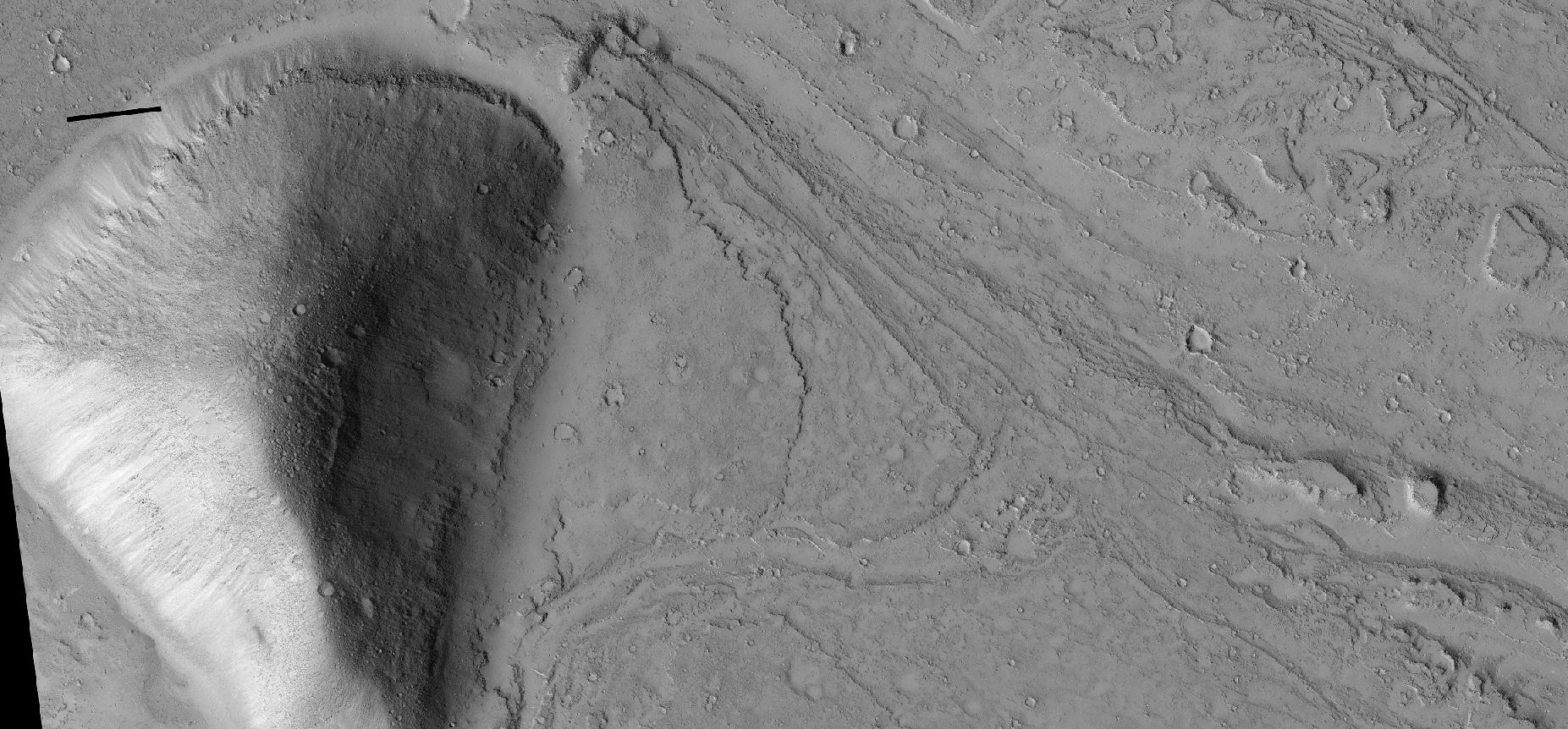 Layers around streamlined knob, as seen by HiRISE under HiWish program