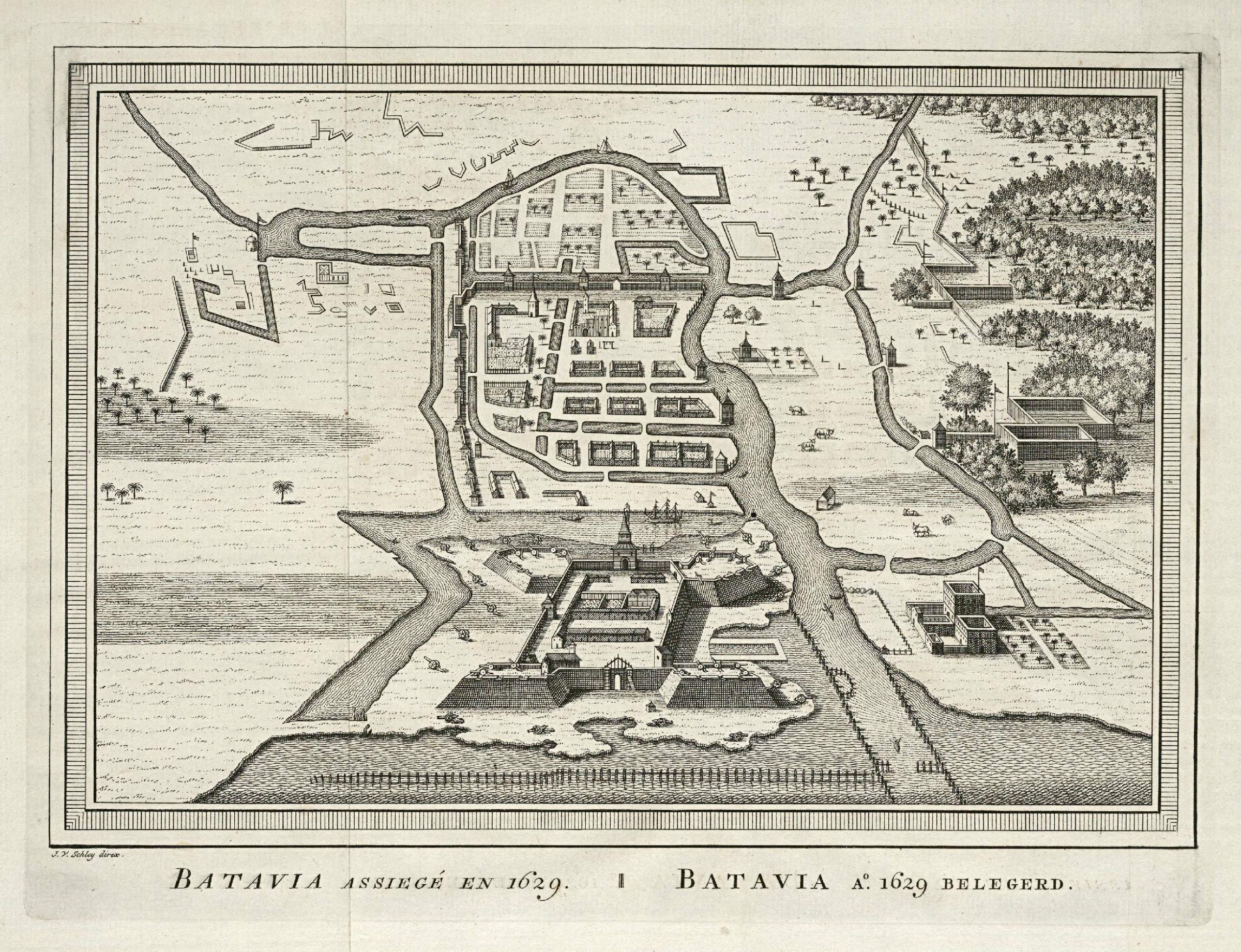 File:AMH-7985-KB Bird's eye view map of the siege of Batavia