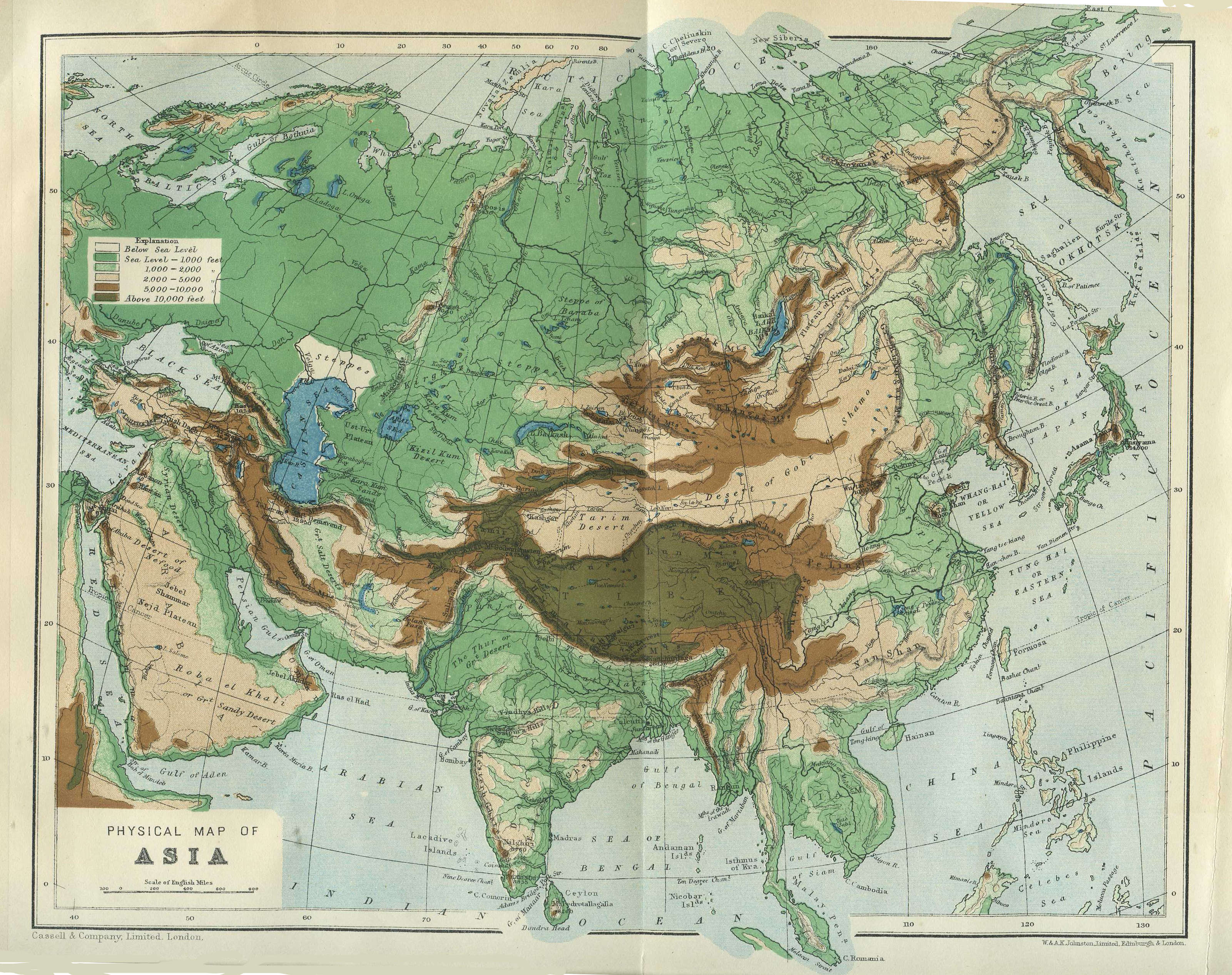 FileA Physical Map Of Asia From Cassels Encyclopedia Jpg - Physical map of asia