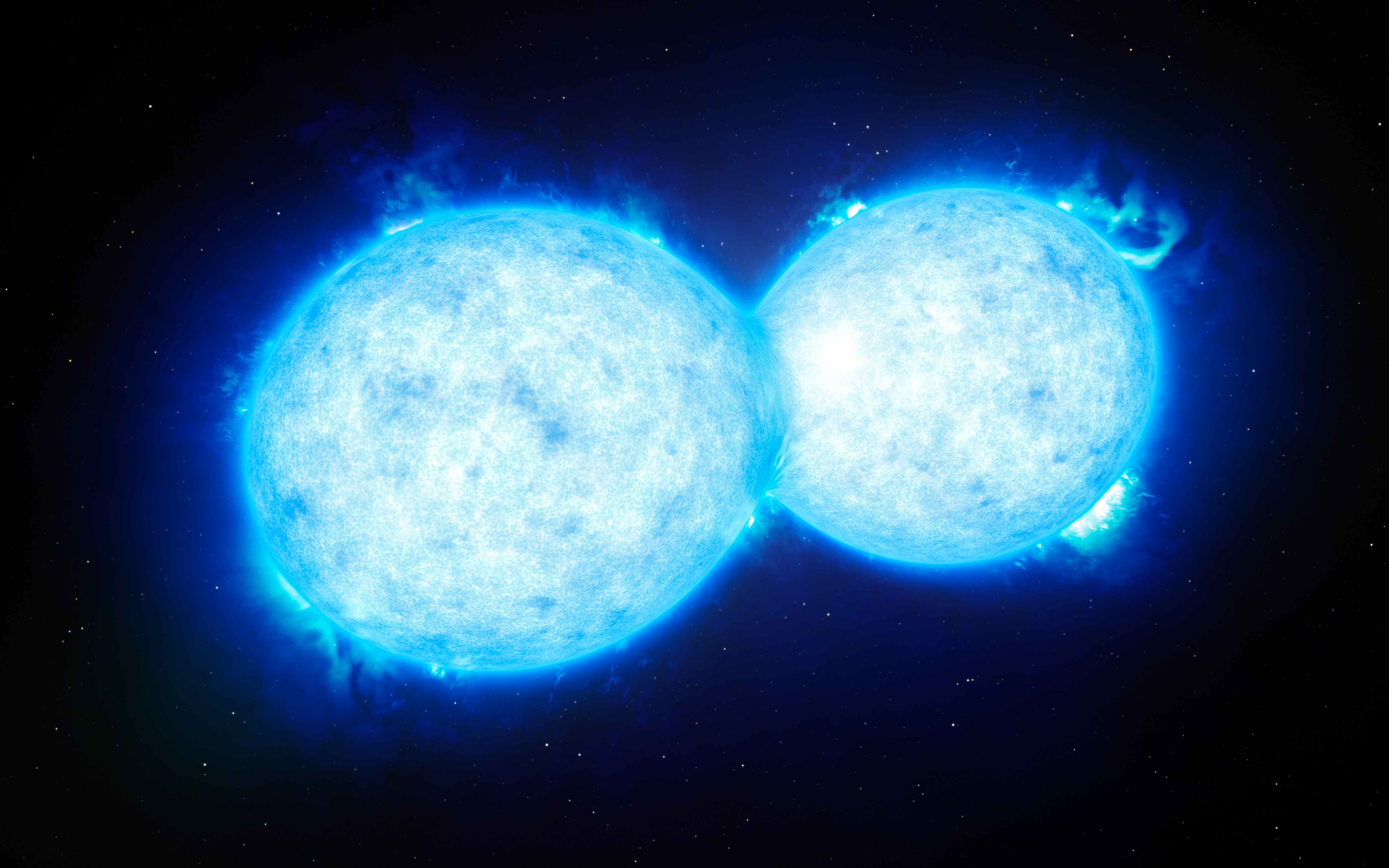 This artist's impression shows VFTS 352 — the hottest and most massive double star system to date... [+] where the two components are in contact and sharing material. The two stars in this extreme system lie about 160 000 light-years from Earth in the Large Magellanic Cloud. This intriguing system could be heading for a dramatic end, either with the formation of a single giant star or as a future binary black hole. Image credit: ESO/L. Calçada