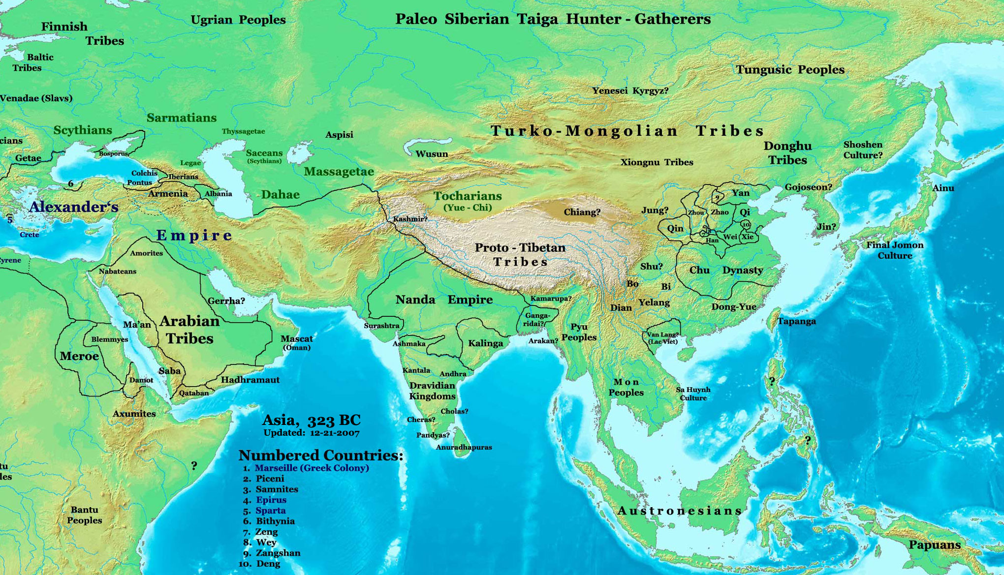 Asia in 323 BCE, the Nanda Empire and Gangaridai Empire in relation to Alexander's Empire and neighbors.