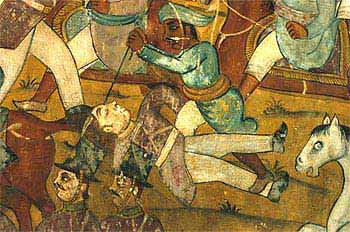 Mural of the Battle of Pollilur on the walls of Tipu's summer palace, painted to celebrate his triumph over the British Battle of pollilur.jpg