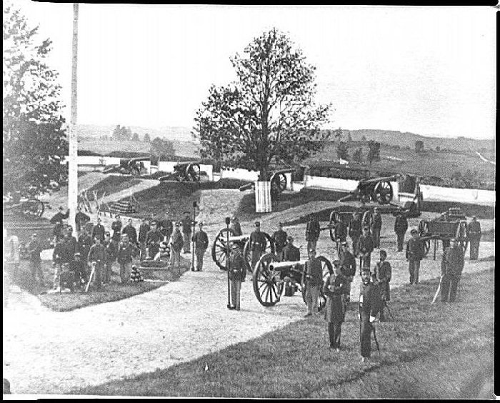 Officers and men of Company F, 3rd Massachusetts Heavy Artillery, in Fort Stevens, 1864