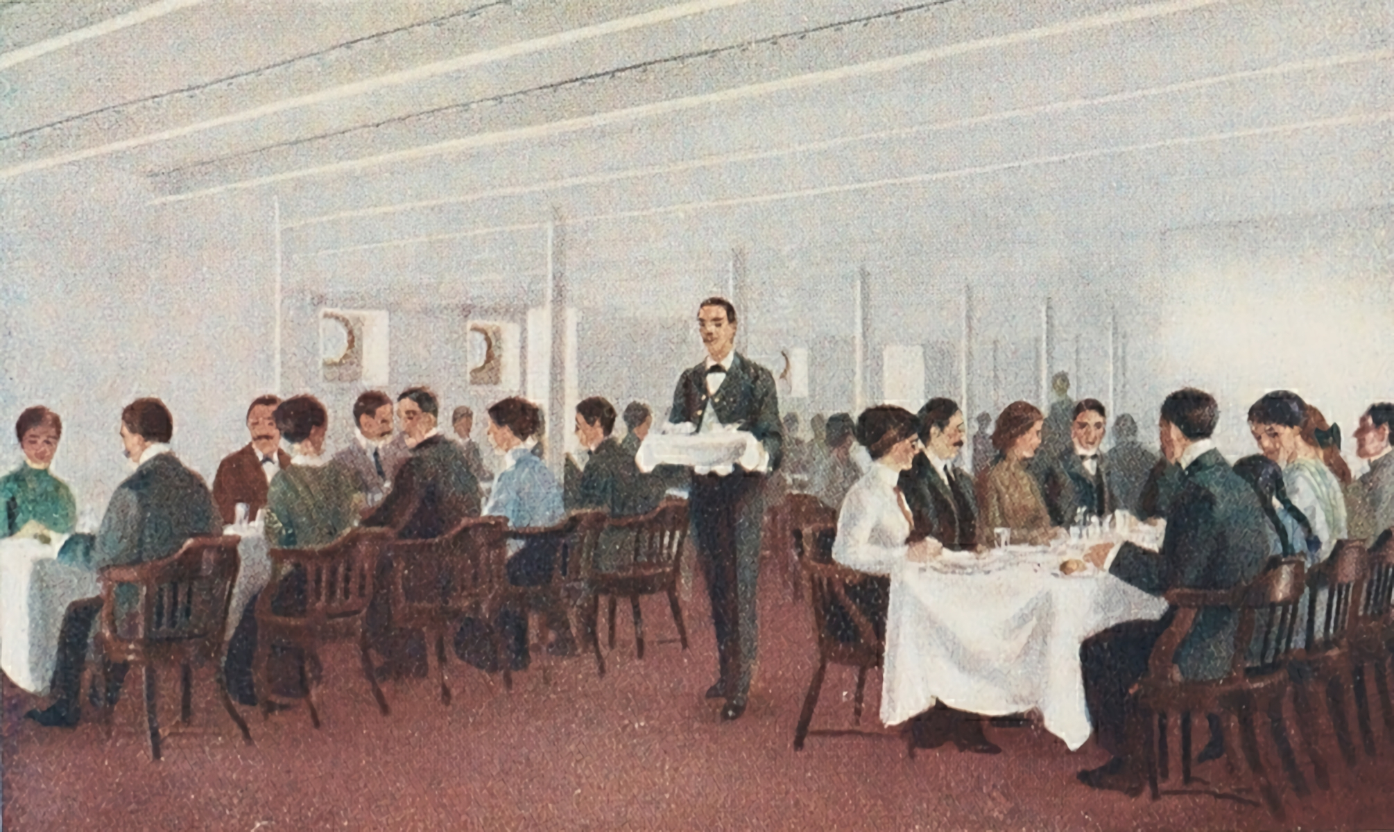 File Contemporary Drawing Of Olympic Titanic 3rd Class Dining Room Jpg Wikimedia Commons