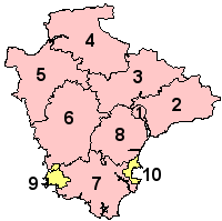 Map of Devon. Plymouth and Torbay shown in yellow, other districts in pink.