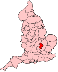 map showing the location of Bedfordshire