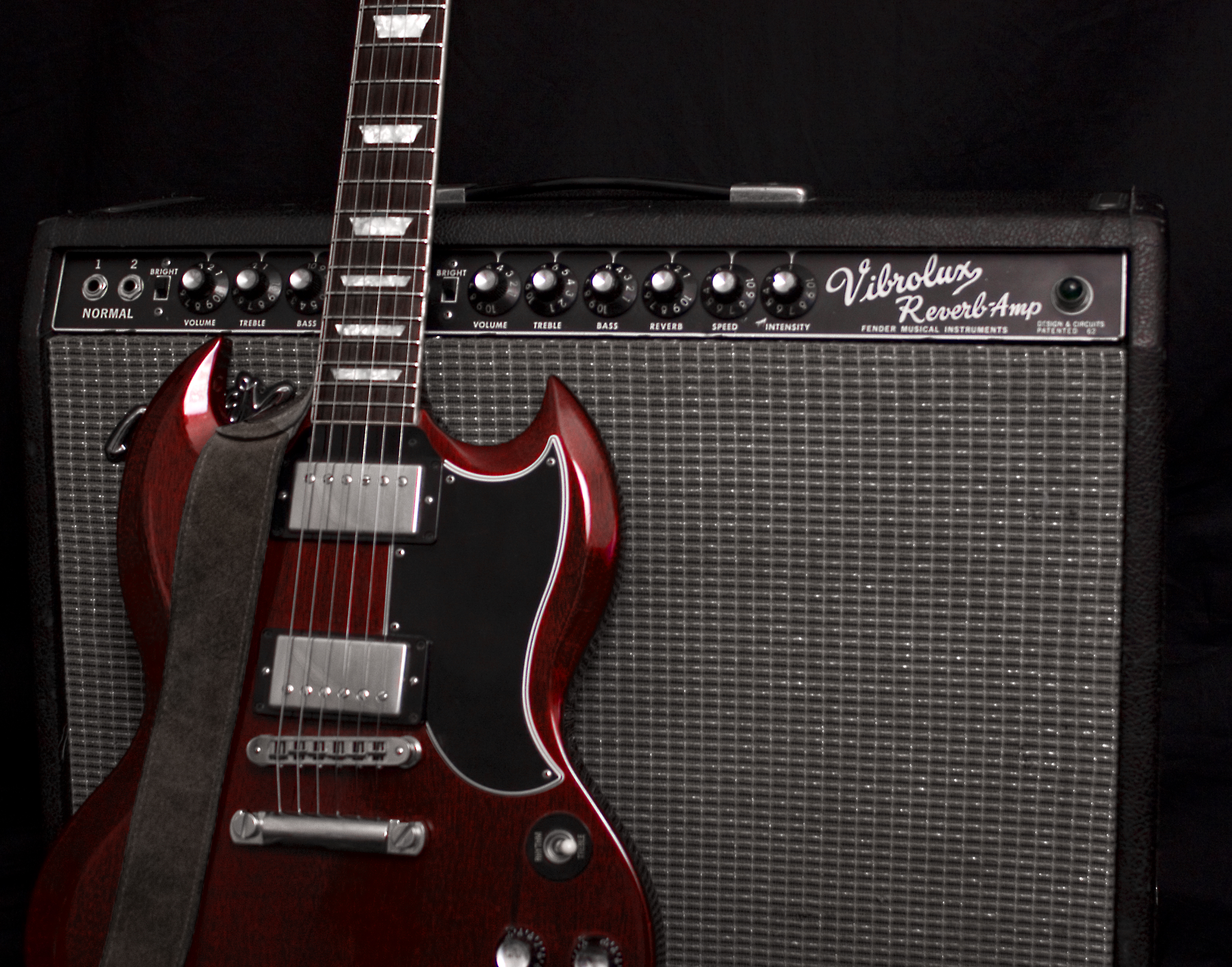 file fender vibrolux reverb with gibson sg wikimedia mons
