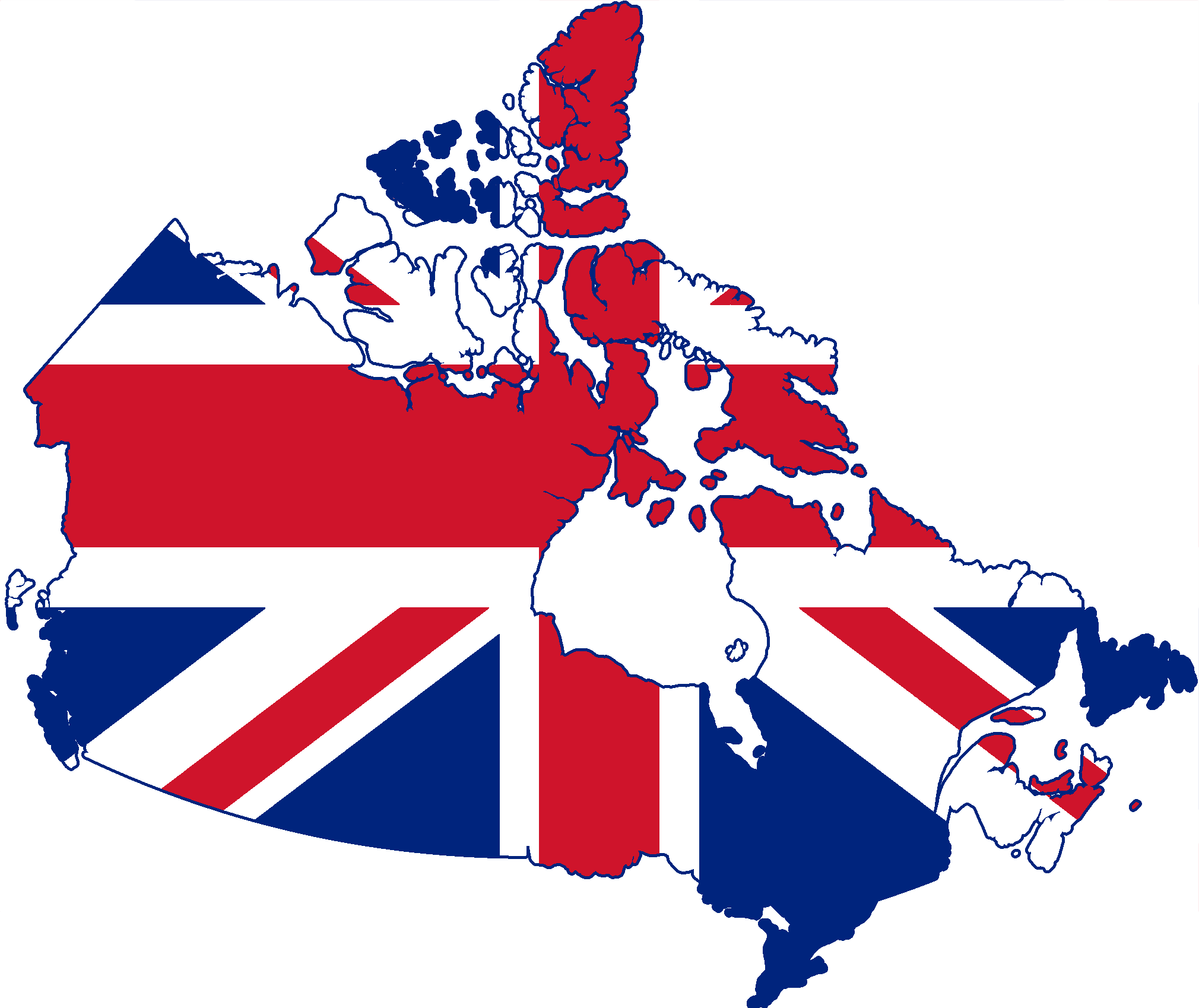 The Uk Flags Map - Canada map with flag