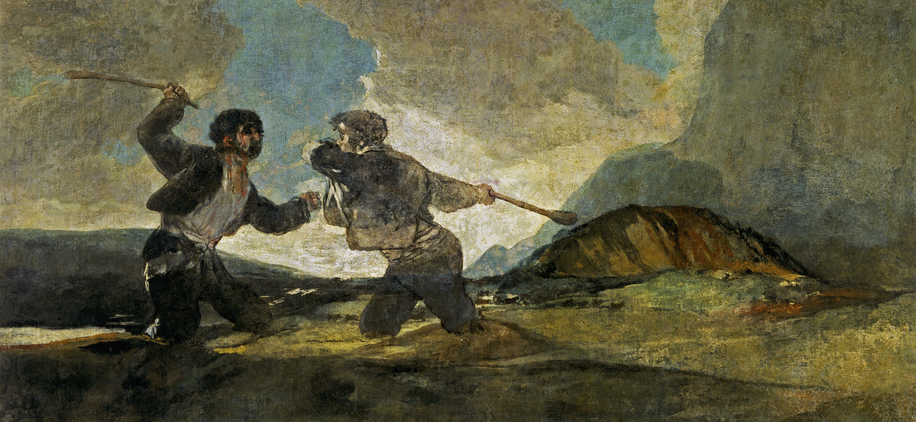 Two guys fighting in a mire with cudgels