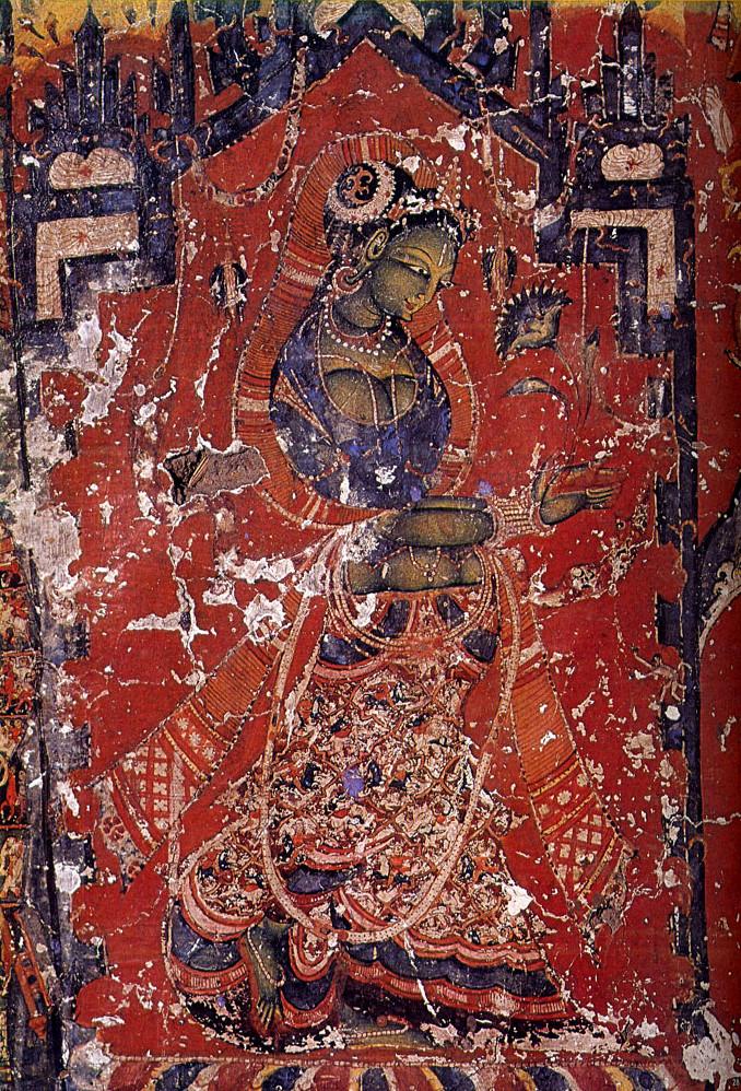 Green Tara. Sumtsek hall at Alci monastery, Ladakh, ca. 11th century.jpg