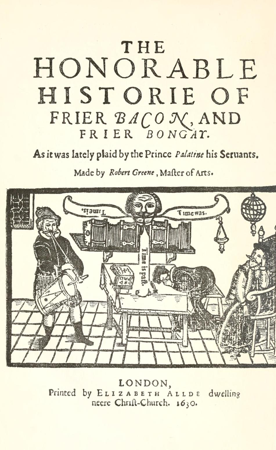 Title page of reprint of 1630 edition of Robert Greene's Friar Bacon and Friar Bungay
