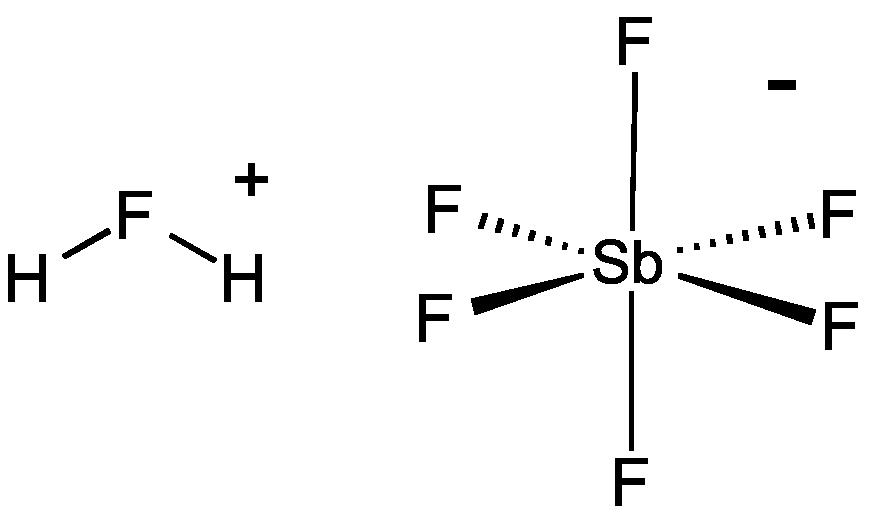 hydrogen fluoride dot diagram fluoroantimonic acid wikipedia  fluoroantimonic acid wikipedia