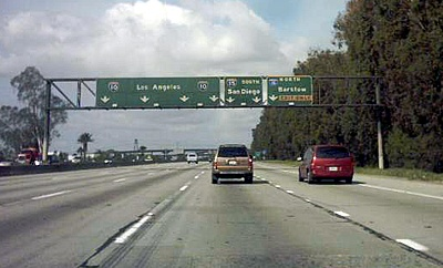The San Bernardino Freeway in California near the interchange with the Ontario Freeway (I-15) I10eastneari15interchange.jpg