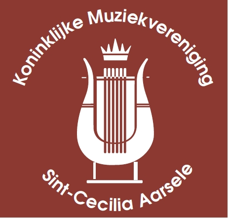 Logo van Koninklijke Muziekvereniging Sint-Cecilia Aarsele. Belgische vereniging bestaande uit orkest, drumband en majorettes.