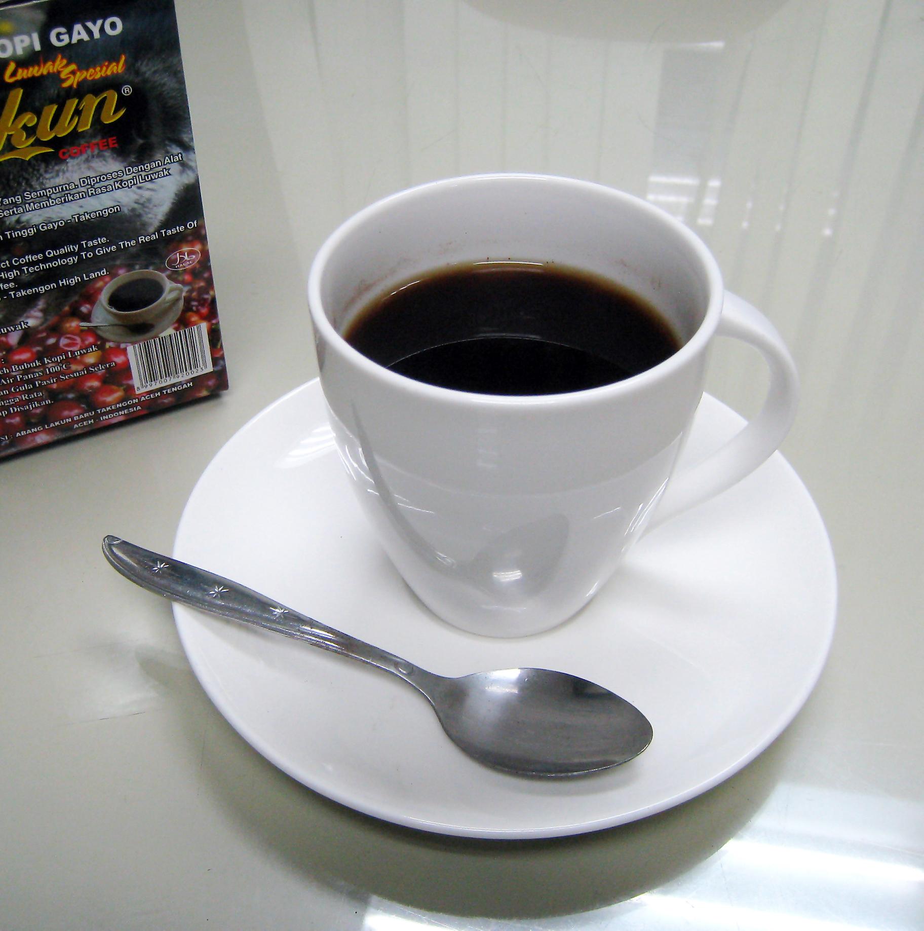 English: Kopi Luwak (civet coffee) from Gayo, ...
