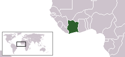 March 10: Ivory Coast becomes French colony. LocationCotedIvoire.png