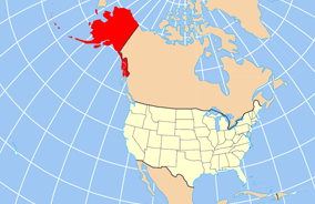 Map of USA with Alaska highlighted and shown i...