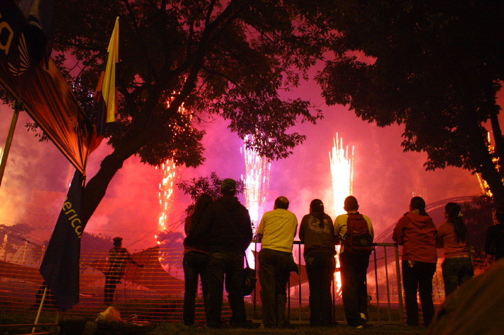 Spectators at Bicentennial fireworks in Colombia