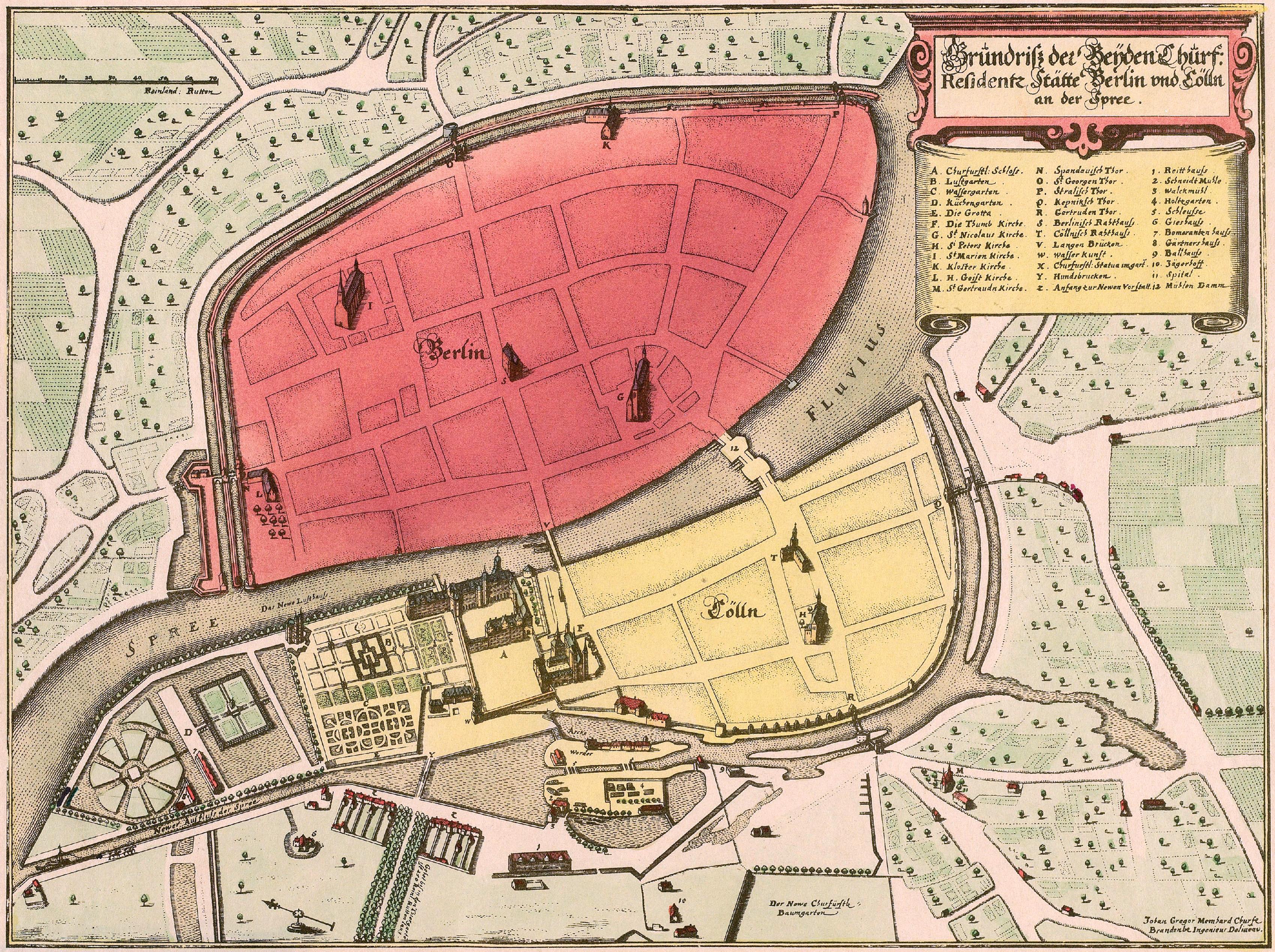 Ältester Stadtplan von Berlin und Cölln von Johann Gregor Memhardt, 1652