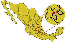 Karte Mexikos, Hauptstadtbezirk rot hervorgehoben