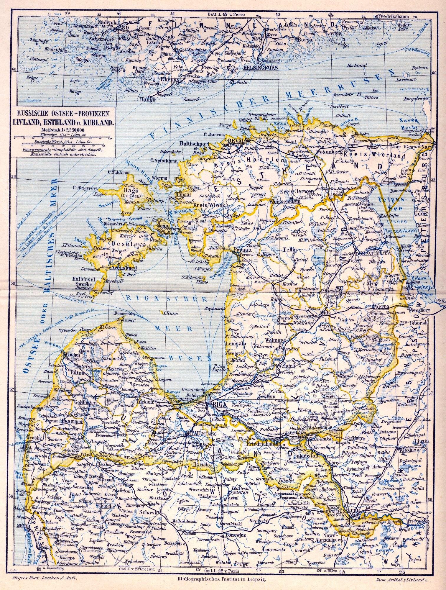 Karte der Russischen Ostseeprovinzen