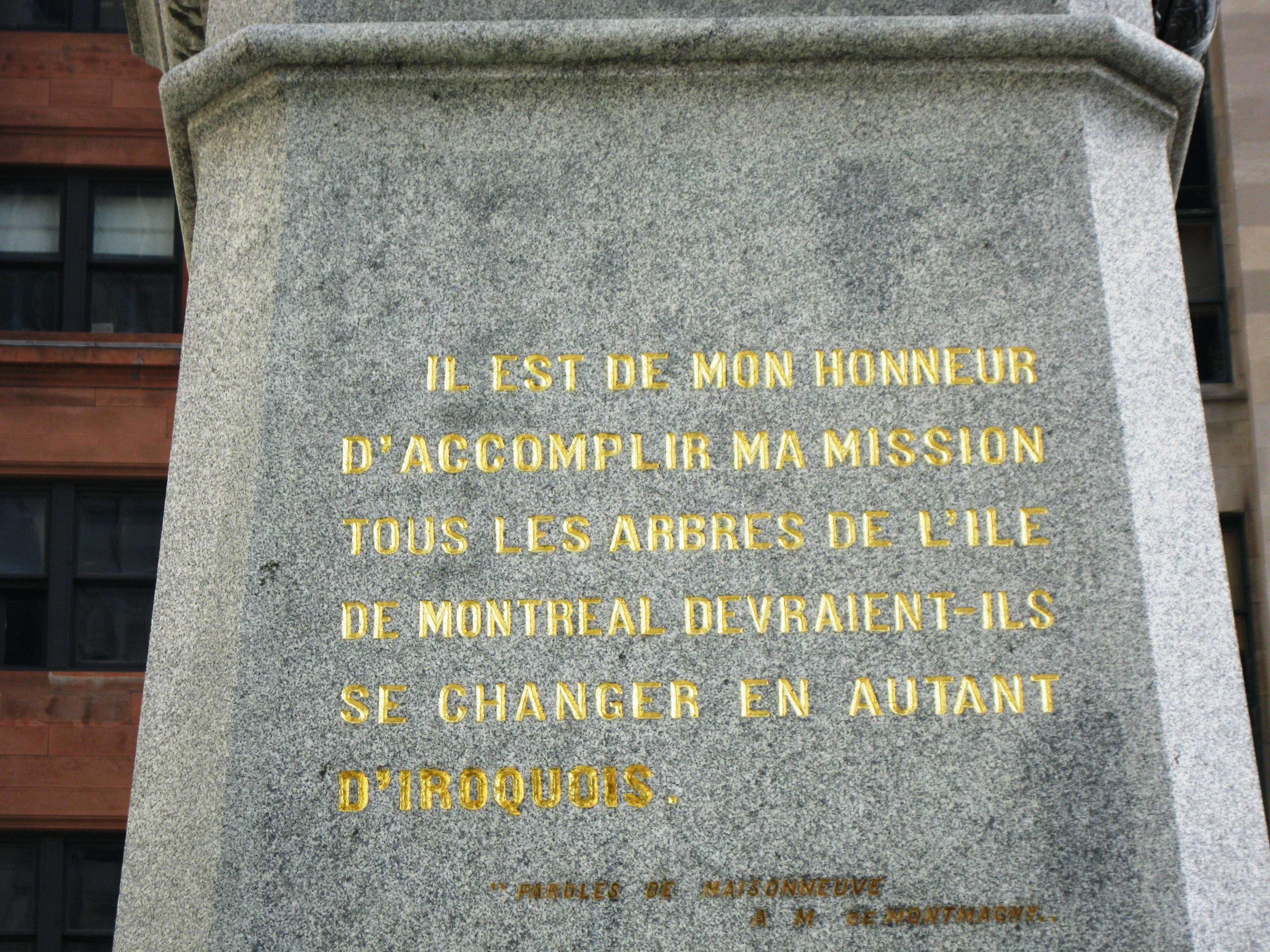 Fichier Monument A Maisonneuve Citation 1a Jpg Wikipédia