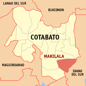 Map of Cotabato showing the location of Makilala