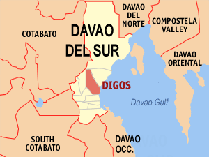Map of Davao del Sur showing the location of Digos City