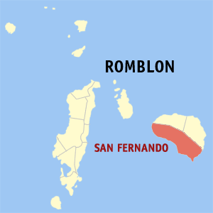 Map of Romblon showing the location of San Fernando