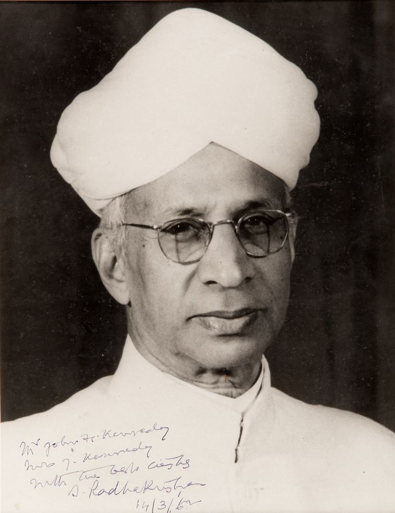 Photograph of Sarvepalli Radhakrishnan presented to First Lady Jacqueline Kennedy in 1962.jpg