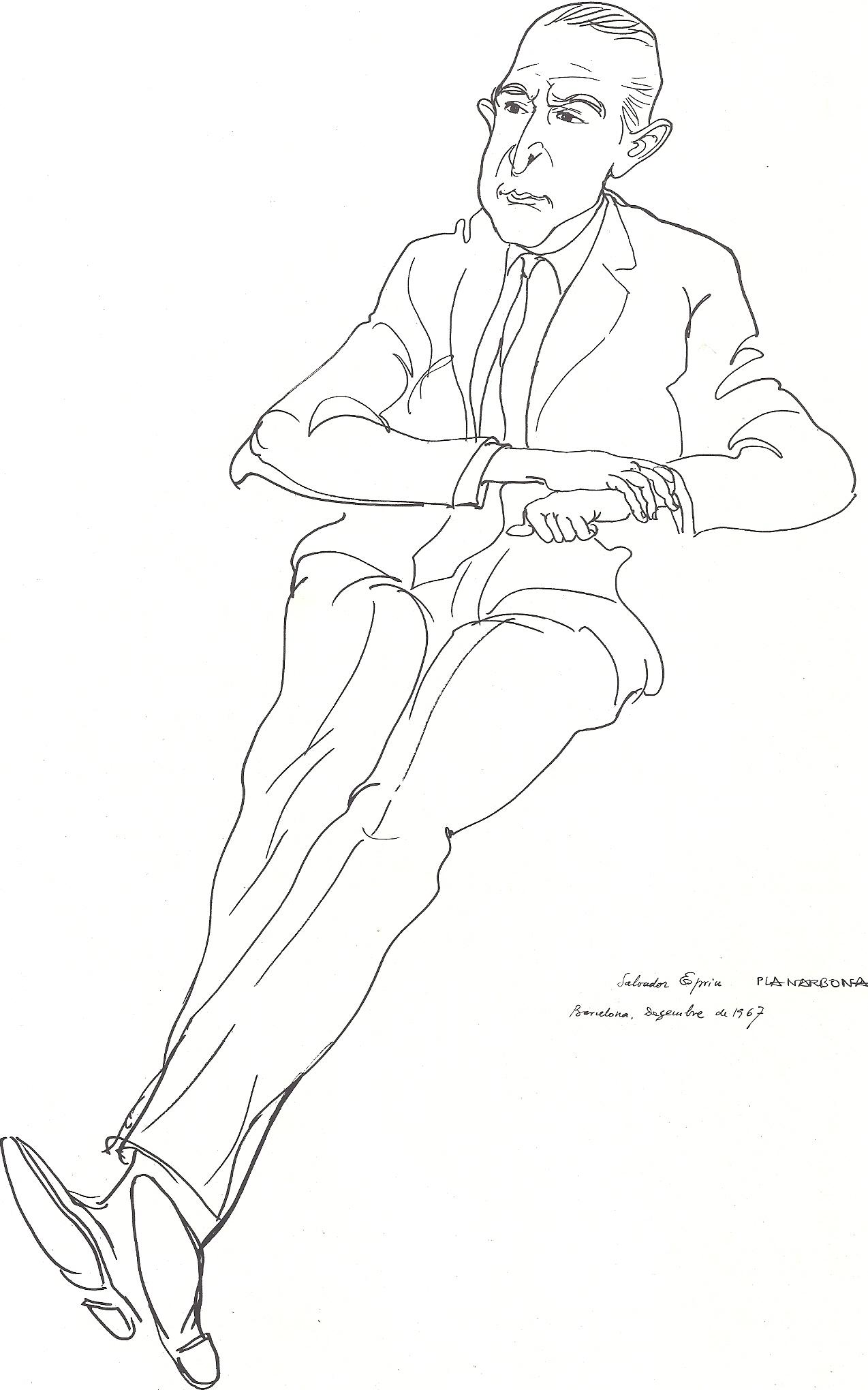 Retrato del autor, por Josep Pla-Narbona