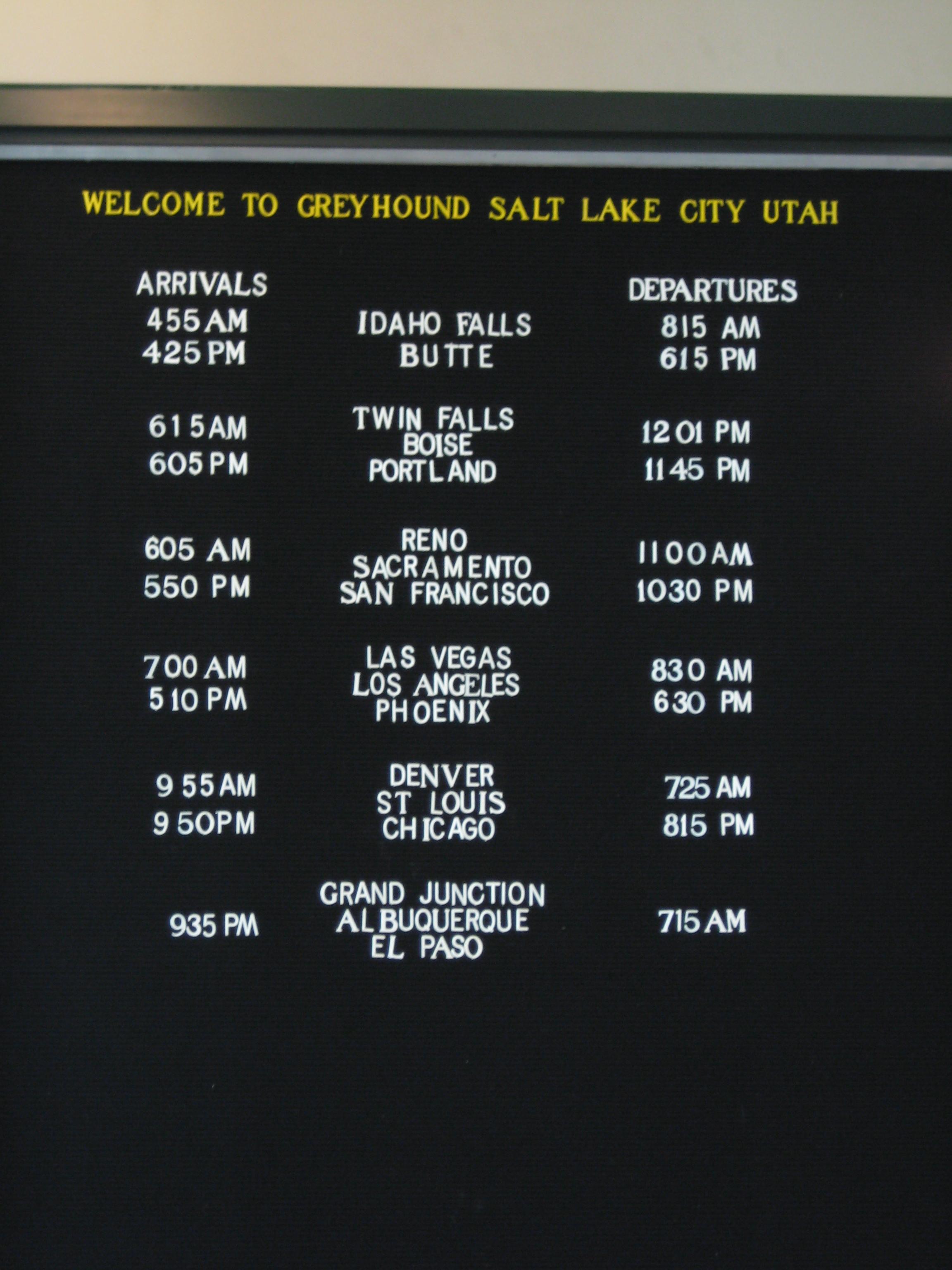 File:Salt Lake City Greyhound Terminal Schedule JPG