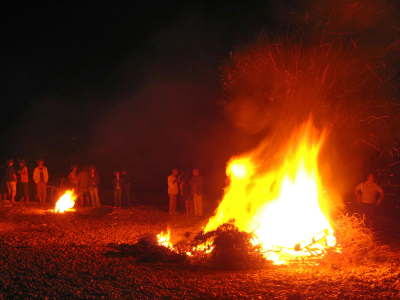 Bonfire at Almadrava beach on Saint John's night. Bonfires are very common in Spain and Portugal.