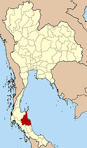 Map of Thailand highlighting Nakhon Si Thammarat Province}
