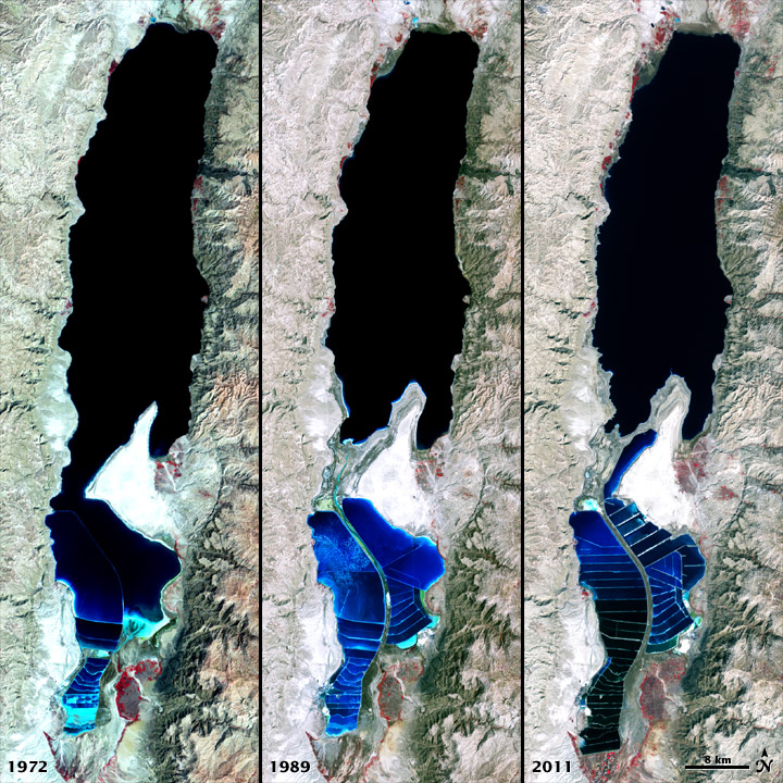The Dead Sea 1972-2011 - NASA Earth Observatory