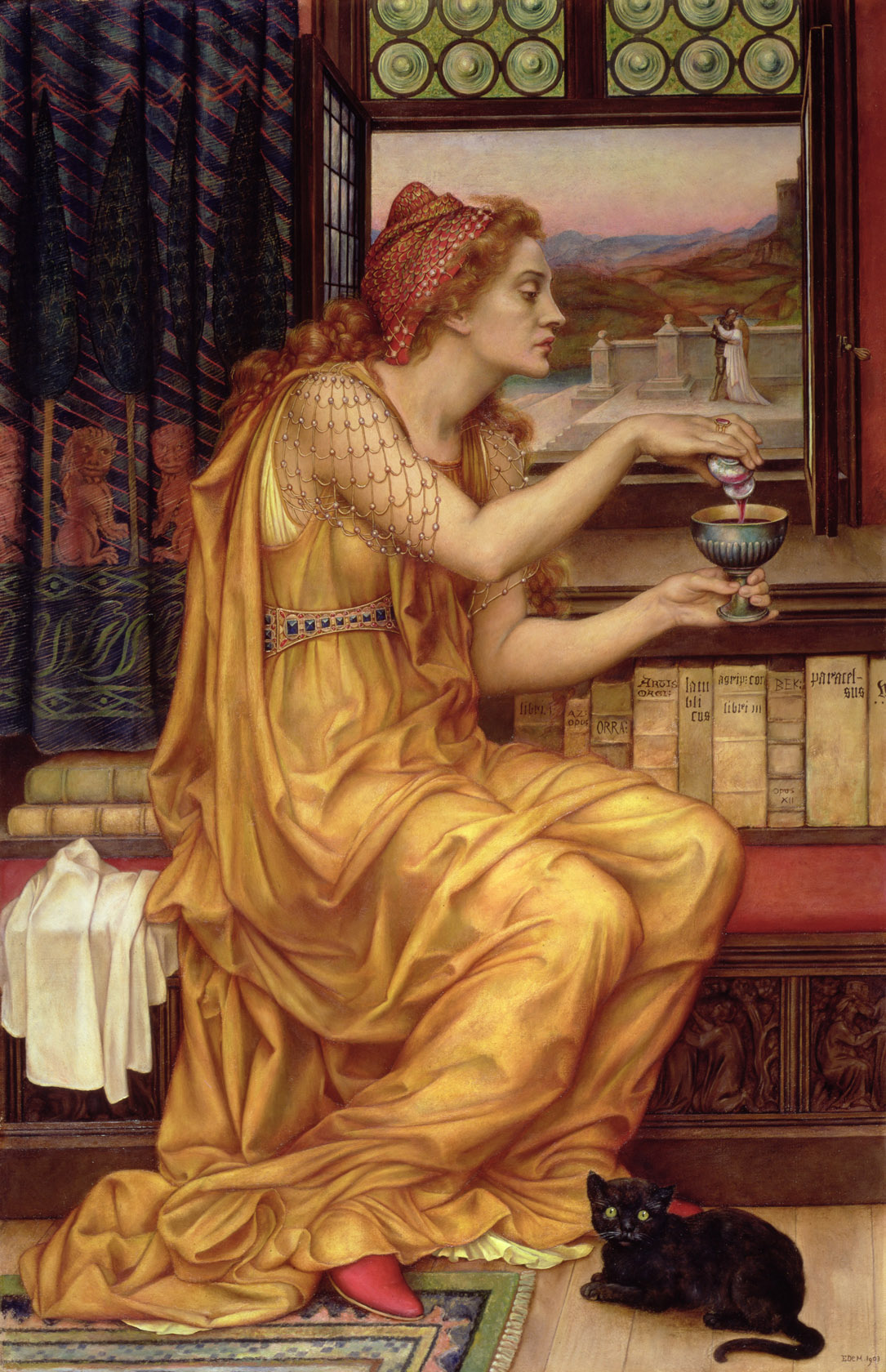 An image of 'The Love Potion' by Evelyn De Morgan, in which a woman mixes up a potion while a black cat looks on. Such potions are an intrinsic part of love magic.